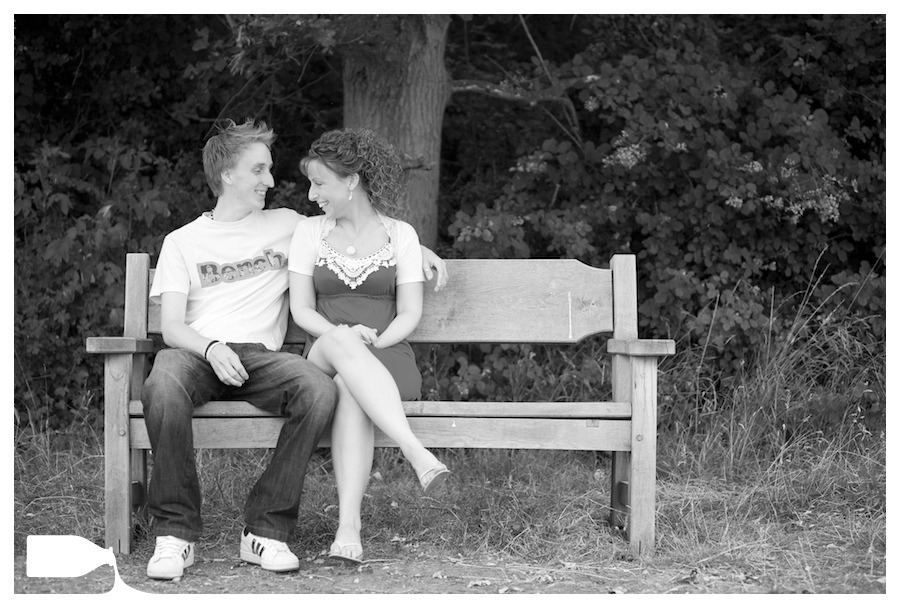 Wedding photography engagement shoot essex bench, Tom and Karen