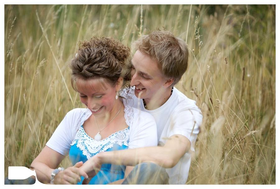 Wedding photography engagement shoot essex field, Tom and Karen