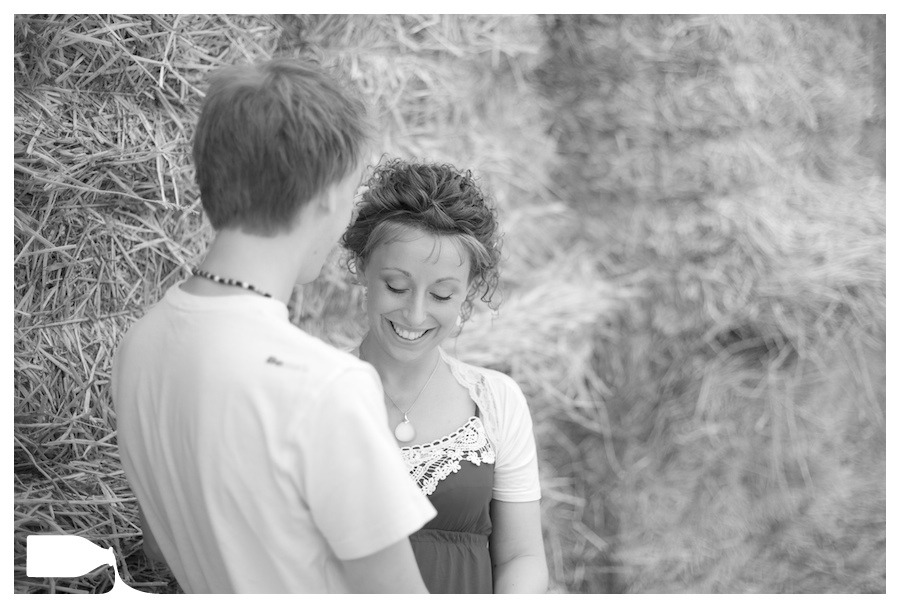 Wedding photography engagement shoot essex hay bails, Tom and Karen